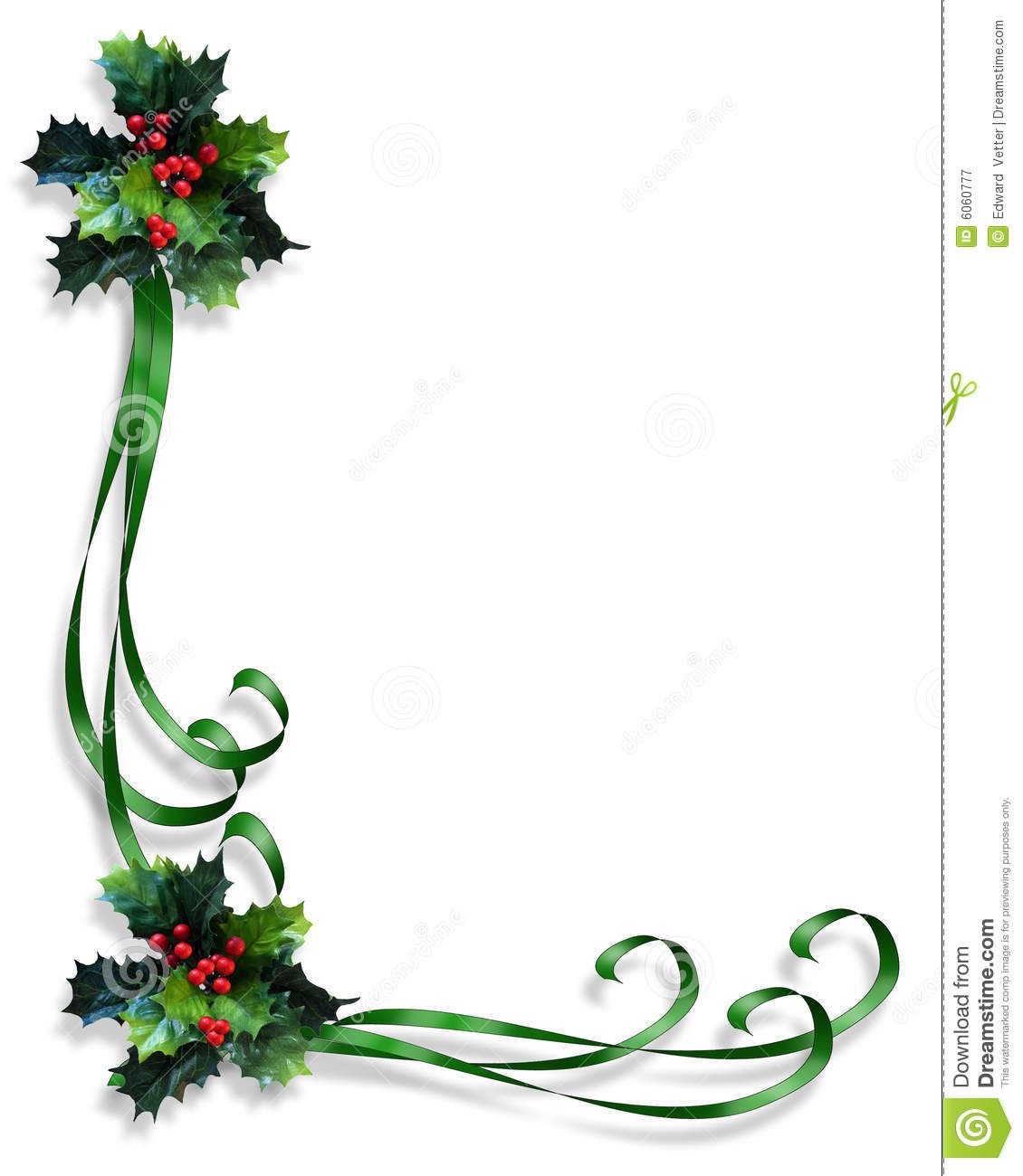 Free Ribbon Border Clip Art Christmas Border Holly And Ribbons.