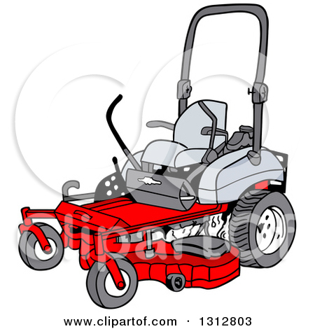 Clipart of a Cartoon Black and White Ride on Lawn Mower.