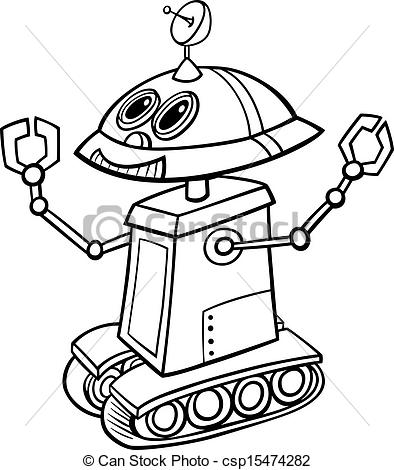 Vector of robot cartoon illustration for coloring.