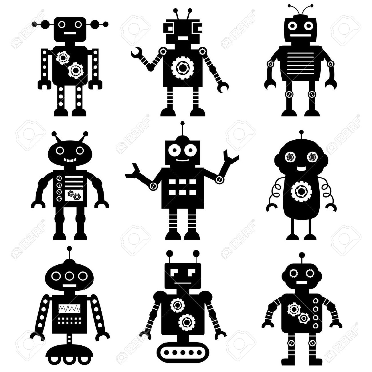 16,802 White Robot Stock Vector Illustration And Royalty Free.