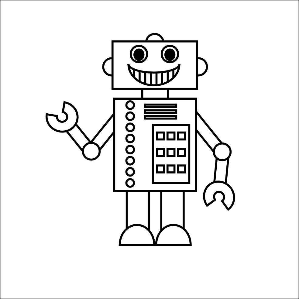 Clipart Of Robot To Color.