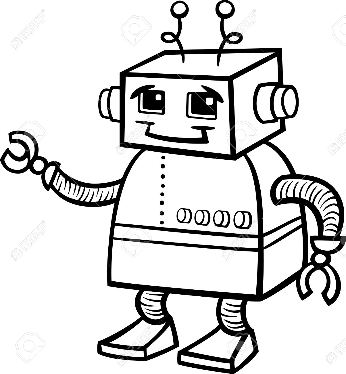 Black And White Cartoon Of Cute Robot Or Droid For Children To.