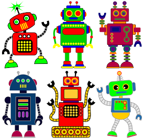 Free robot clip art for classrooms, teachers and parents..