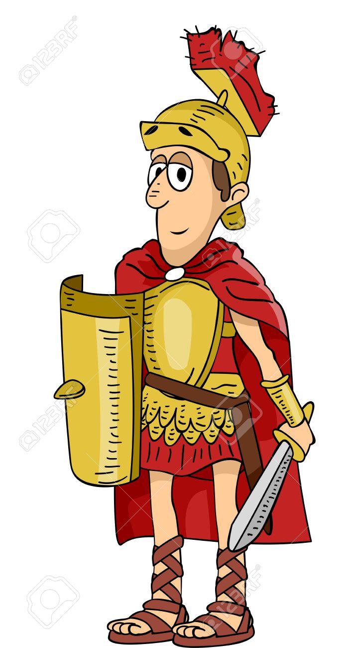 Cartoon Roman Soldier Clipart.
