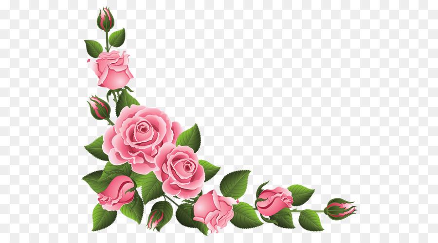 Super Pink Rose Border Clip Art Free Enjoyable Png Download 600 495.