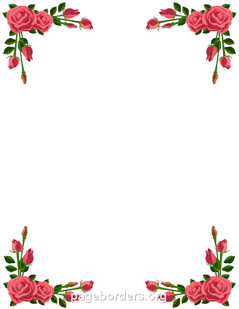 Printable pink rose border. Use the border in Microsoft Word or.