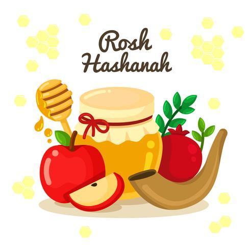 Rosh Hashanah Jewish New Year Elements Design Vector.