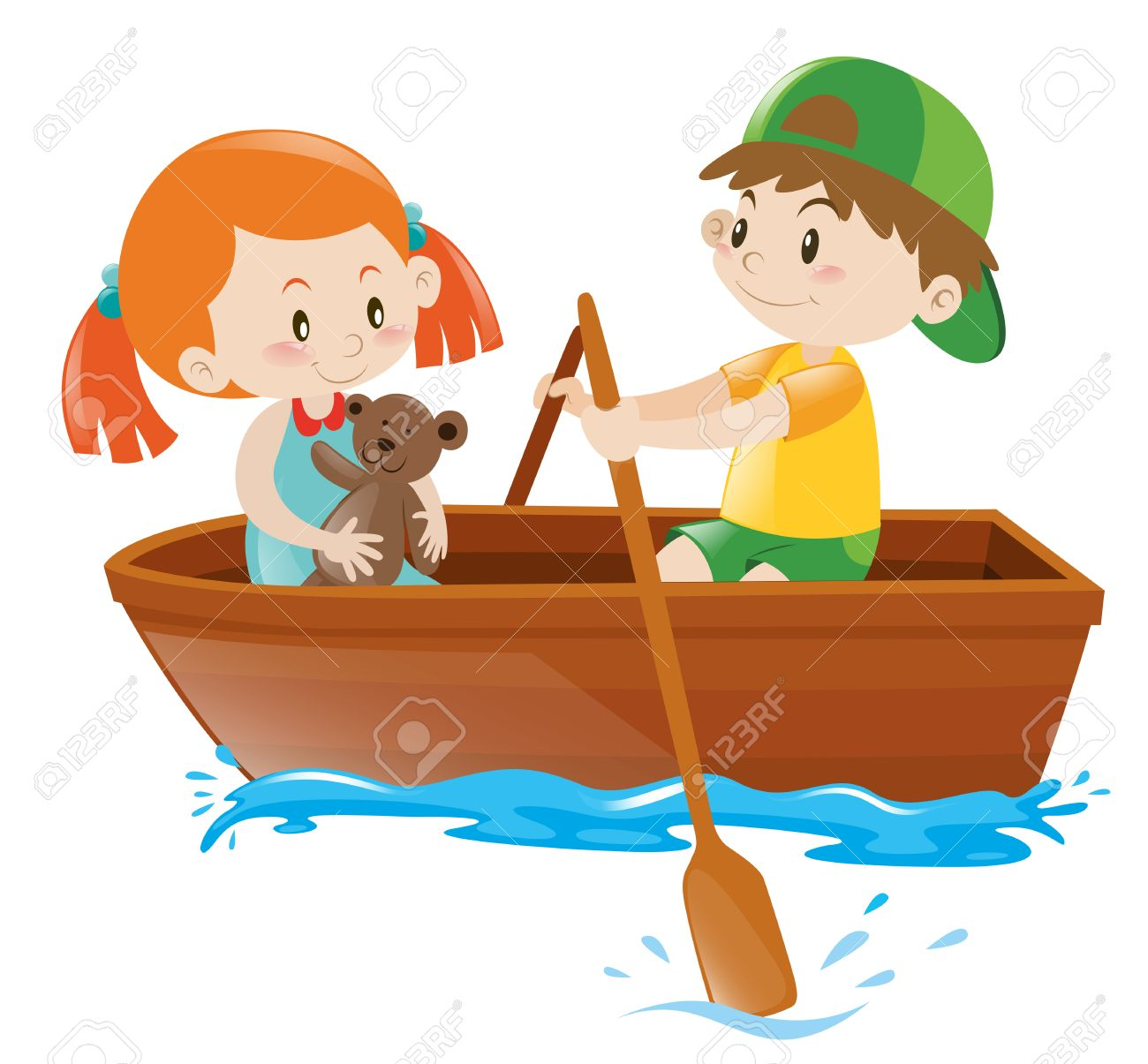 Boy rowing boat with girl as passenger illustration.