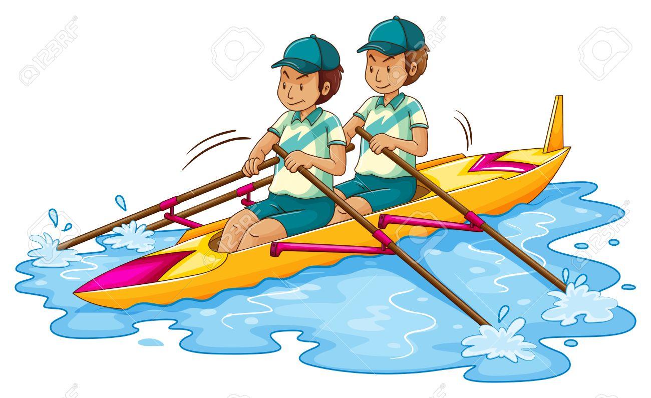 Two men rowing kayak illustration.