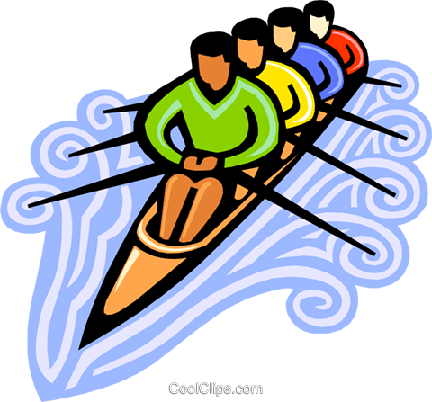 rowers Royalty Free Vector Clip Art illustration.