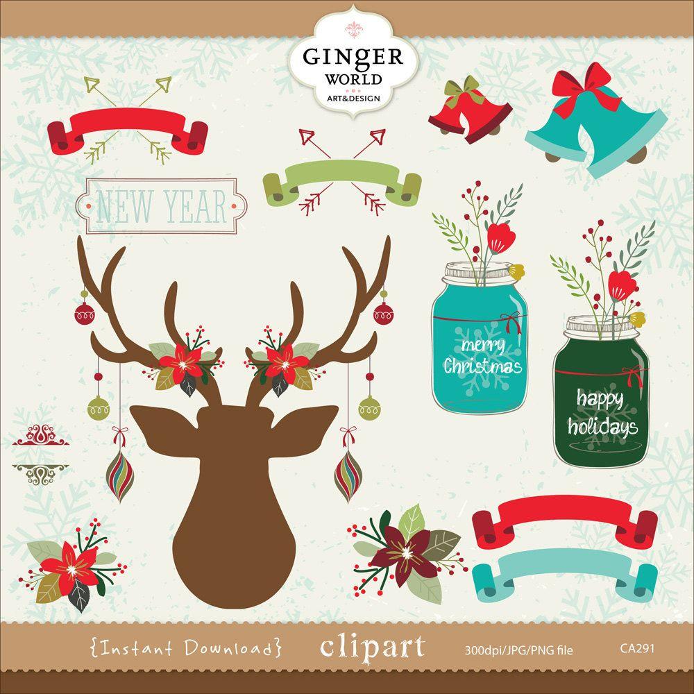 Christmas Deer clipart, rustic christmas, mason jars, Ribbon.