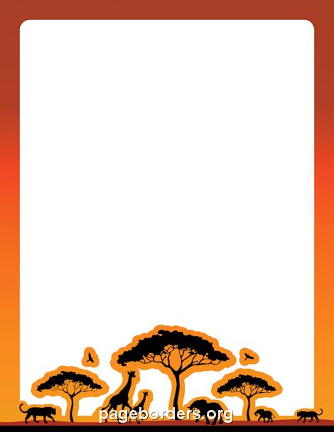 Safari Border: Clip Art, Page Border, and Vector Graphics.