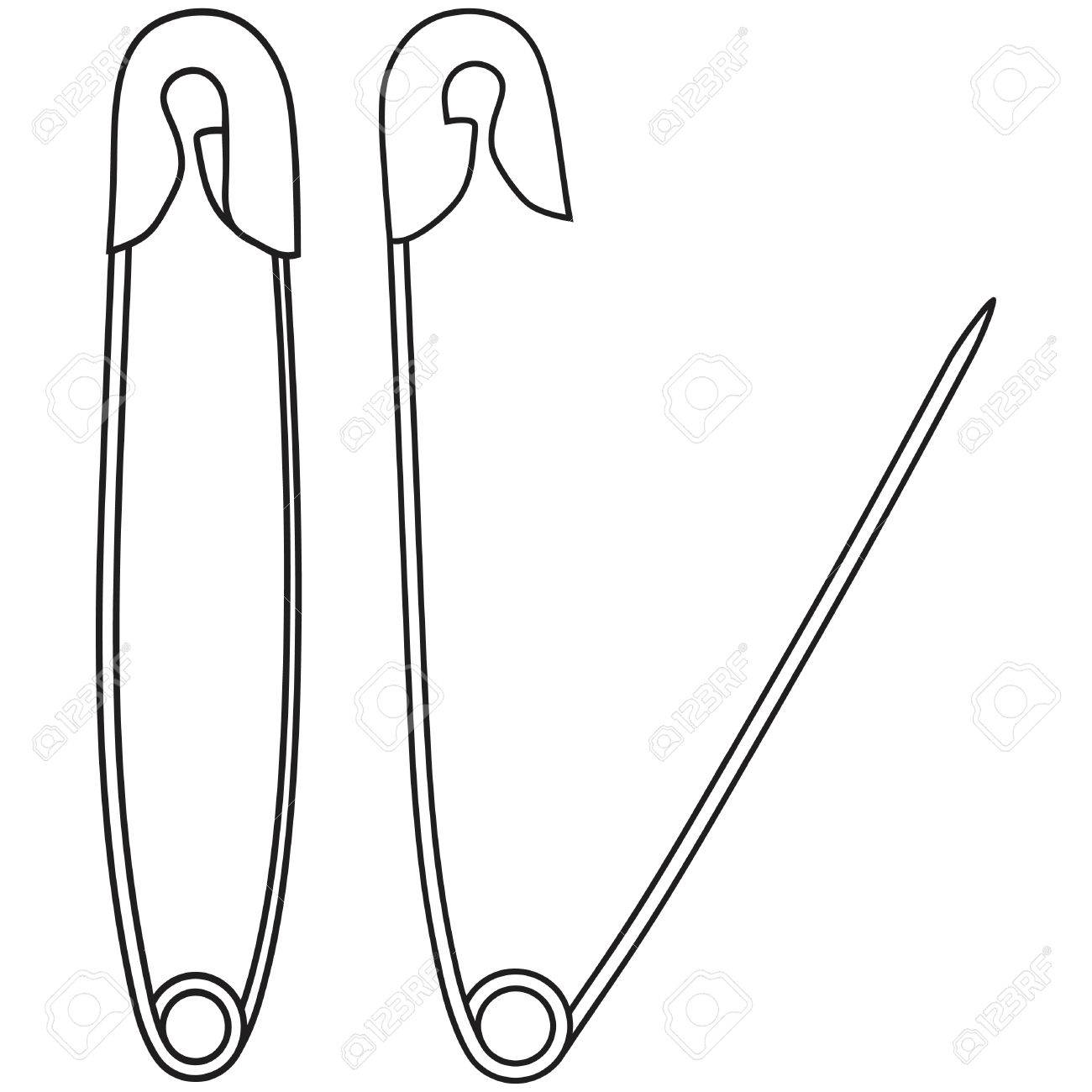 Set of opened and closed safety pins.