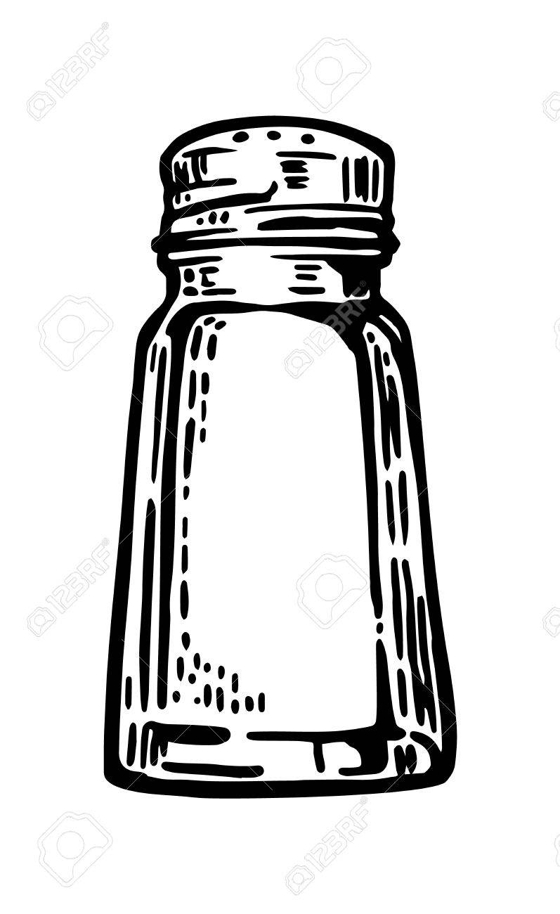 Salt shaker. Vintage vector engraving illustration for label,...