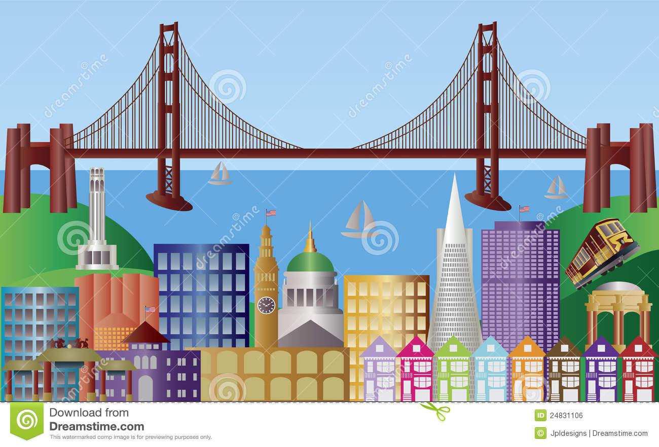 San Francisco City Skyline Panorama Illustration Stock Vector.