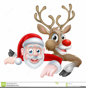 Santa And Reindeer Clipart.