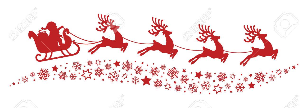 Santa Sleigh Reindeer Flying Snowflakes Red Silhouette Royalty.