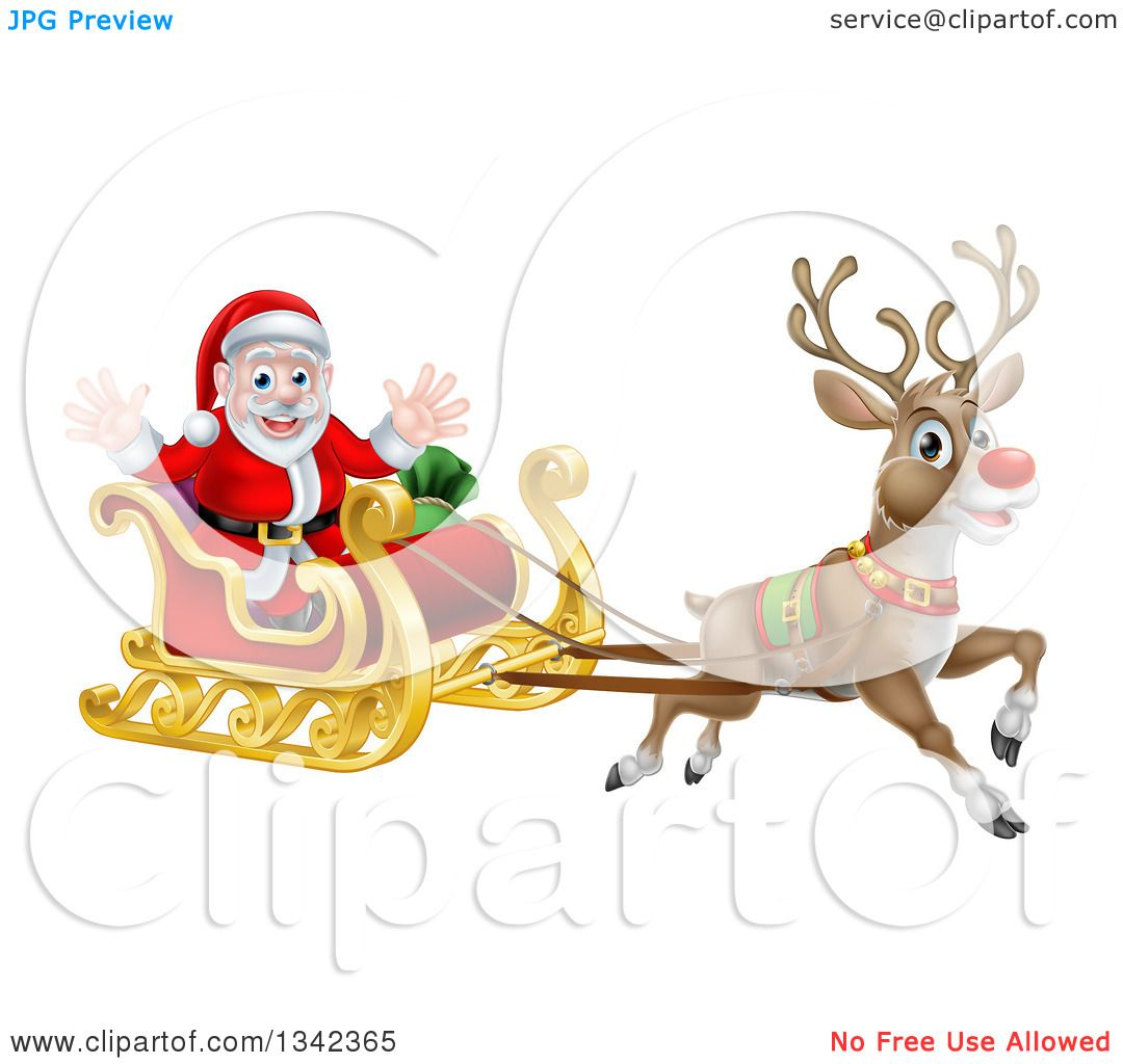 Clipart of a Red Nosed Reindeer, Rudolph, Flying Santa in a Sleigh.
