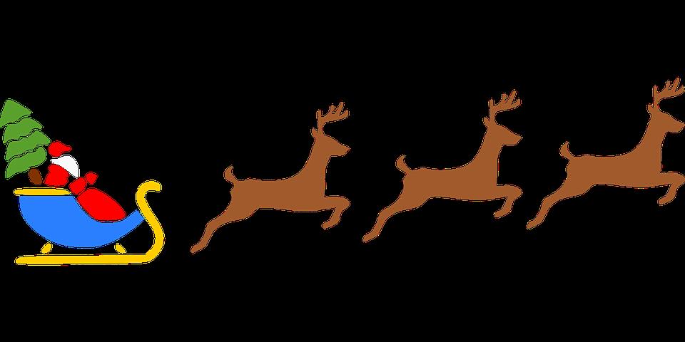 Free vector graphic: Santa, Christmas, Reindeer, Flying.