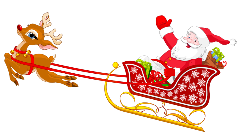 Santa Slay And Reindeer Clip Art Pictures to Pin on Pinterest.
