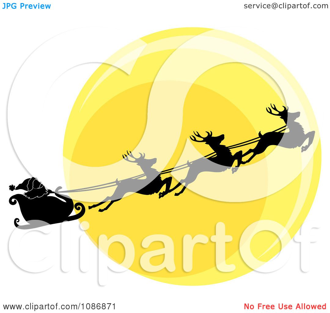 Clipart Silhouetted Santa Sleigh And Flying Reindeer Against The.