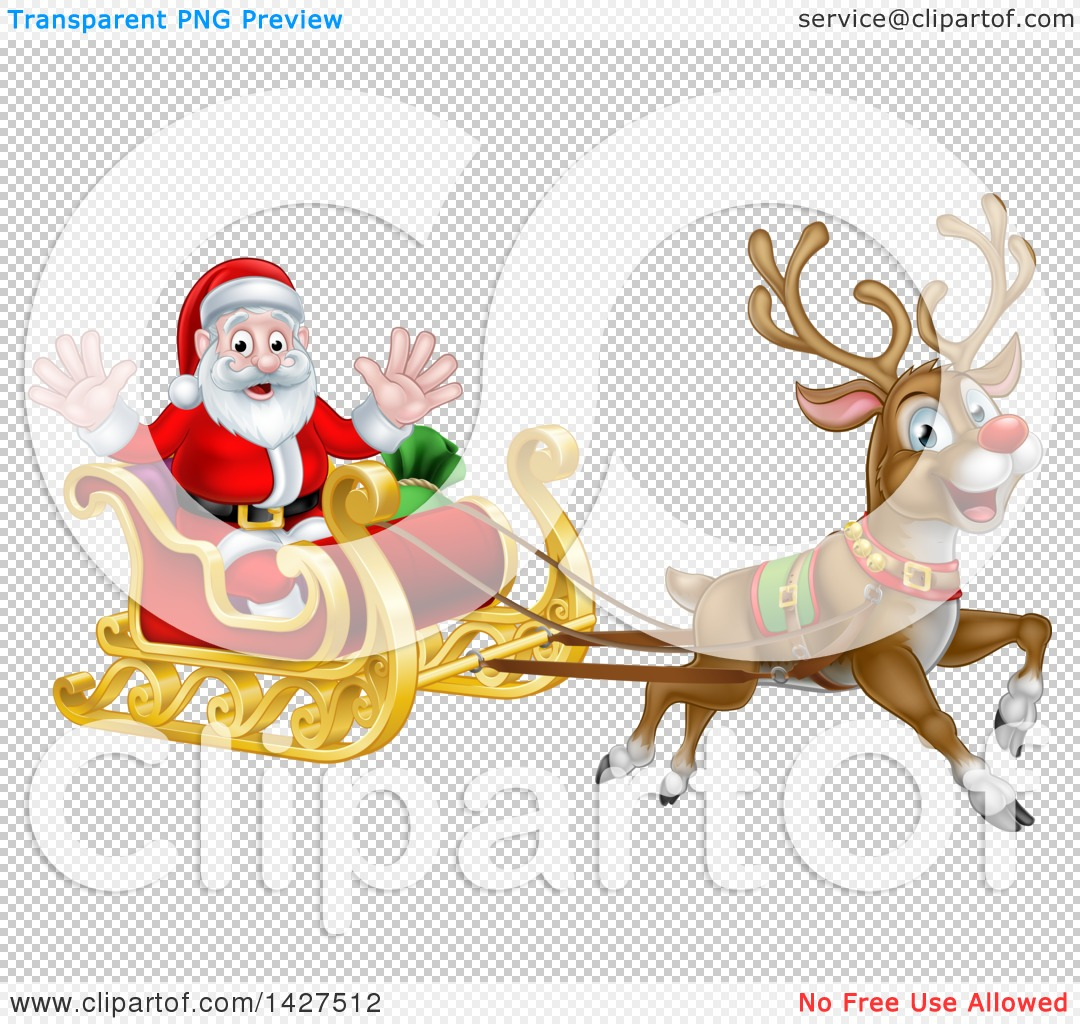 Clipart of Rudolph the Red Nosed Reindeer Flying Santa in a Sleigh.