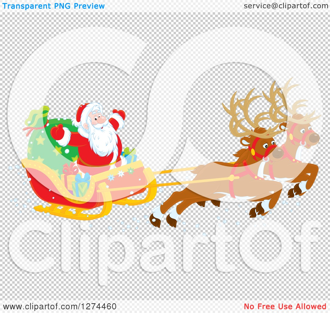 Clipart of Two Magic Christmas Reindeer Flying Santa Claus in His.