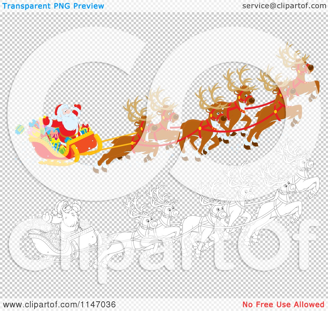 Cartoon of Colored and Outlined Scenes of Santa with Magic.