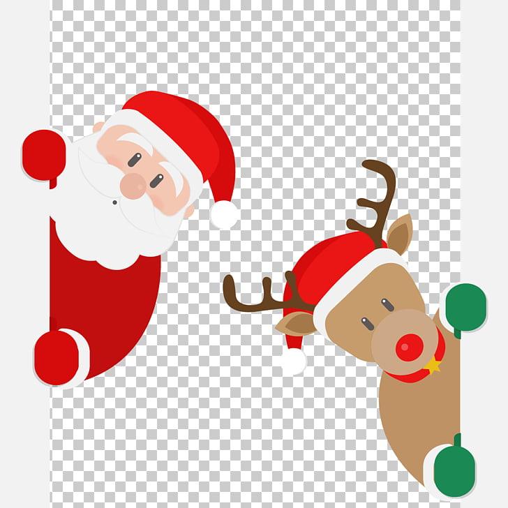 Rudolph Santa Claus Reindeer , Santa and deer PNG clipart.