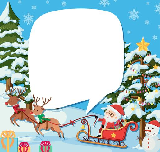 Border template with santa and reindeers on christmas.
