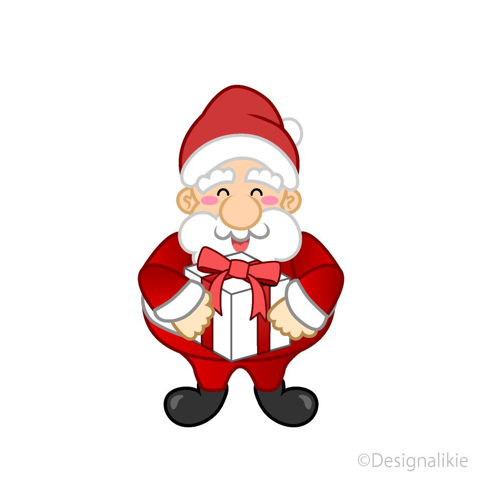 Free Santa with Gift Box Clipart Image|Illustoon.