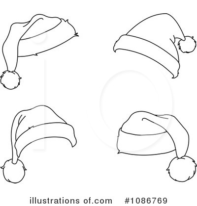 Free Santa Hat Clipart Black And White.