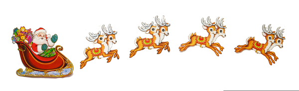 Free Clipart Santa And Reindeer Flying.