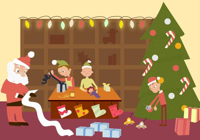 Santas Workshop Vector.