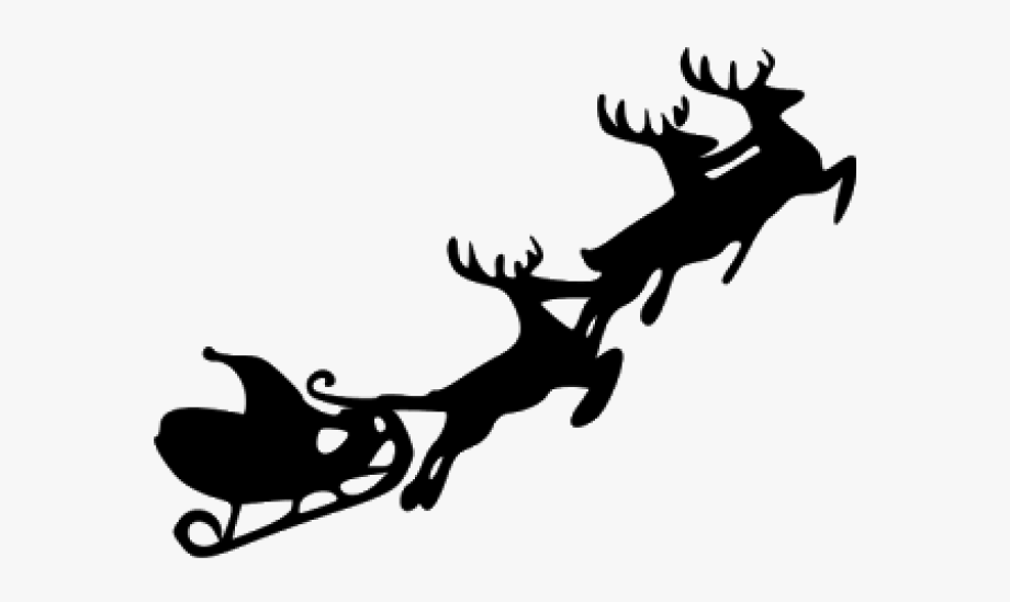 Santa Sleigh And Reindeer Clipart , Transparent Cartoon.