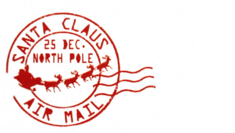 Red Santa Claus Christmas Post Mark Stamp.