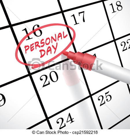 Vector Clip Art of personal day words circle marked on a calendar.