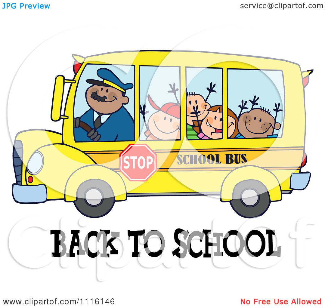 Clipart Happy Bus Driver And Children Over Back To School Text.