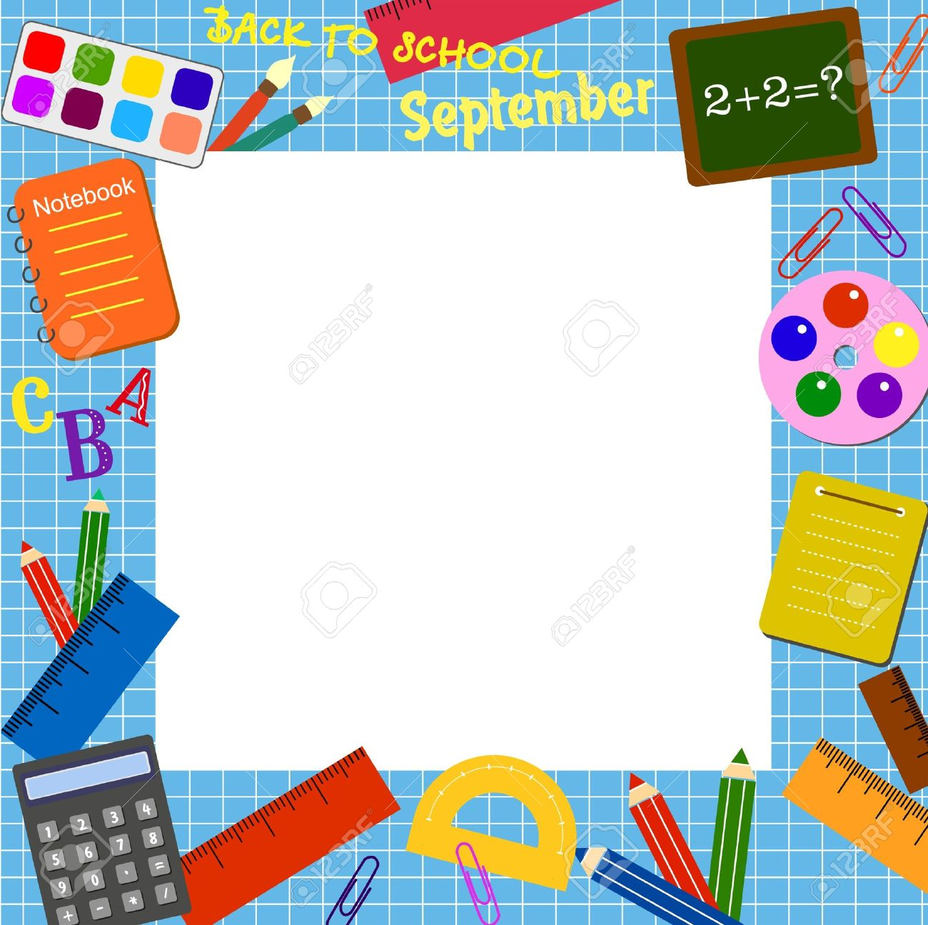 Colorful border (frame) with the school objects.