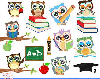 School Owl Clipart Etsy.