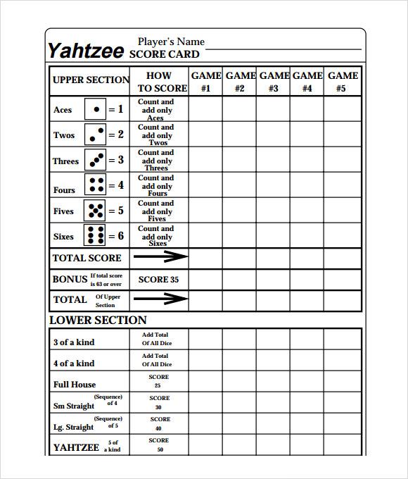 Yahtzee Scorecards Free Clip Art.