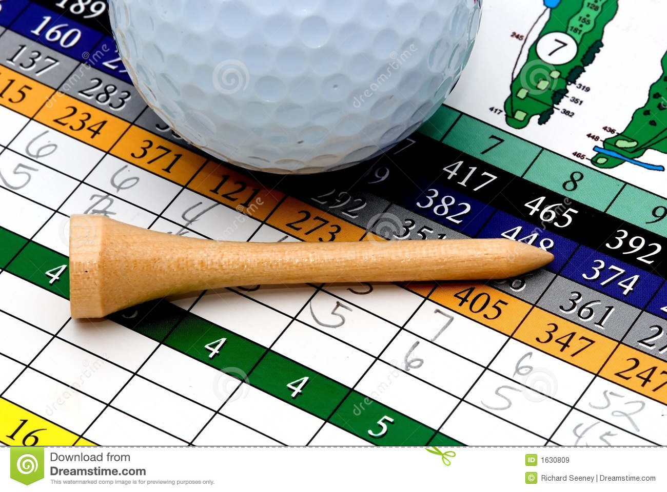 Golf Tee, Ball And Scorecard Royalty Free Stock Images.