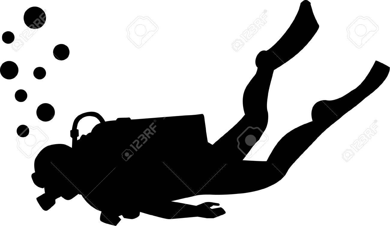 Scuba diving silhouette.