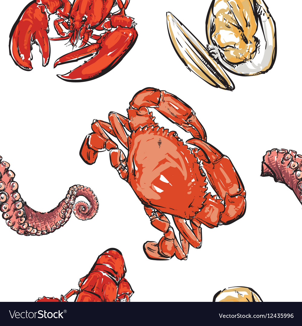 Seafood pattern hand drawing clip art.