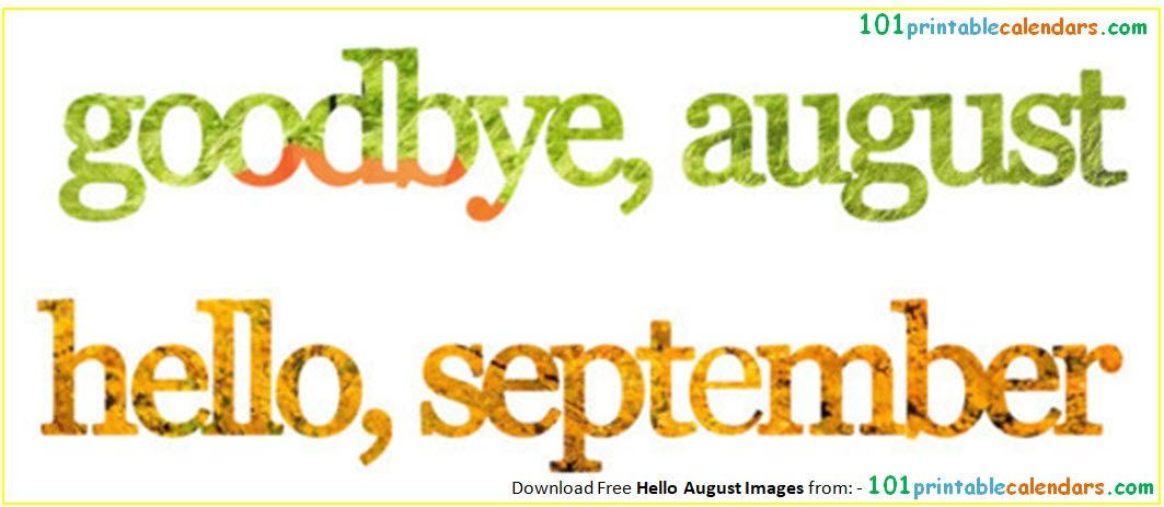 Goodbye August Hello September Clipart.