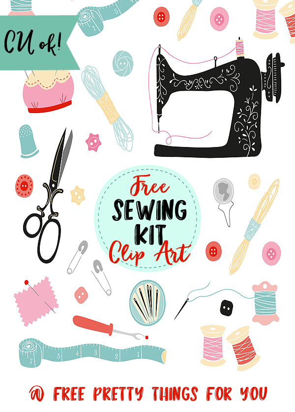 Free Sewing Kit Clip Art Elements.