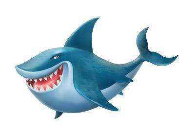 Cartoon shark clipart blue 3d fish illustration just free.