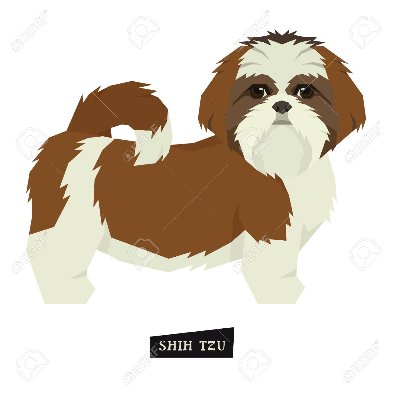 Dog collection Shih Tzu Geometric style Isolated object set..