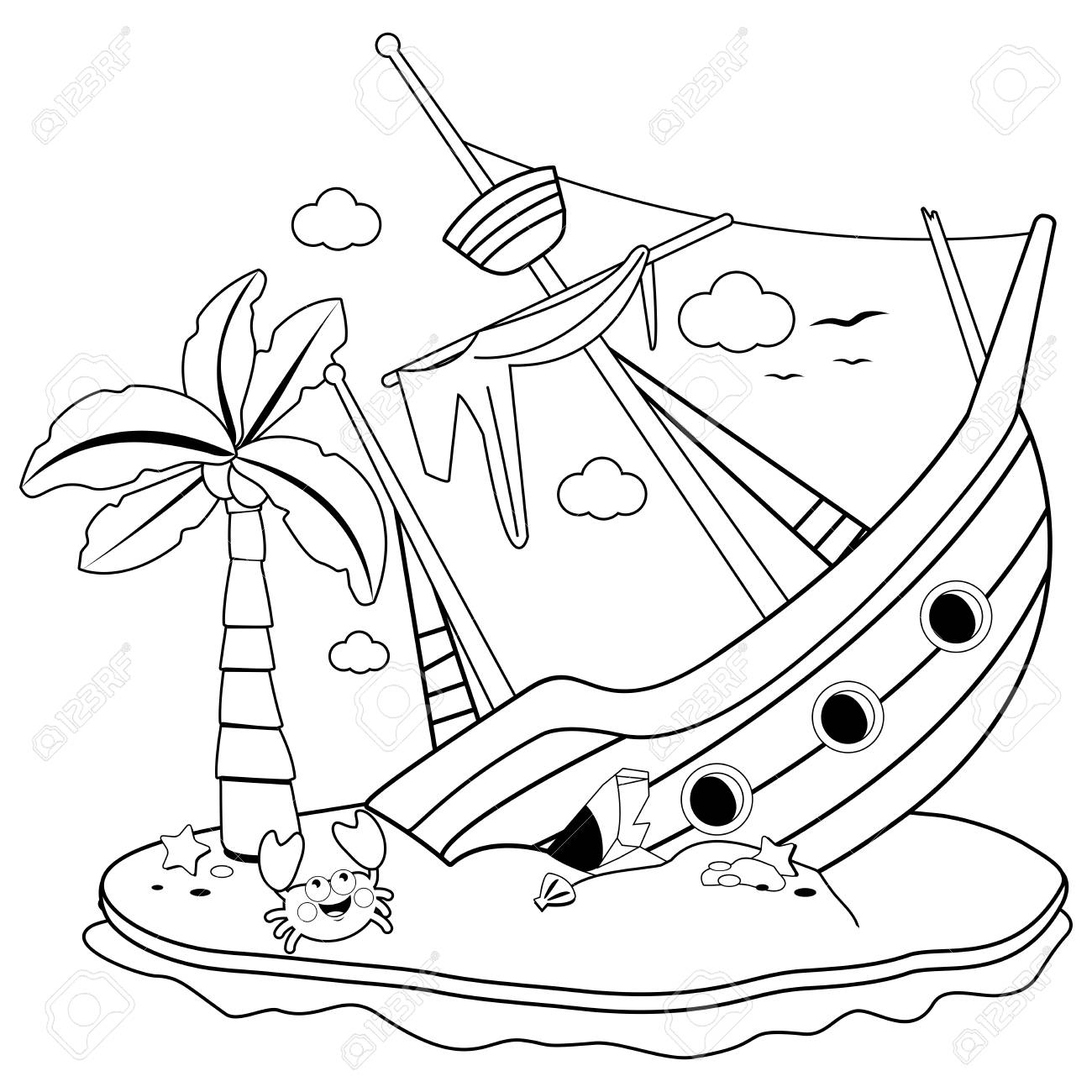Shipwreck on an island. Black and white coloring book page.