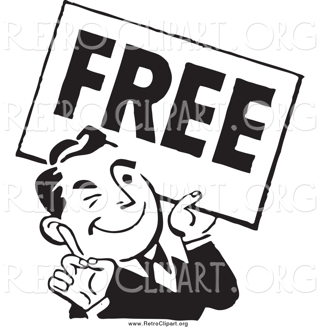 Clipart of a Retro Black and White Man with a Free Sign by.